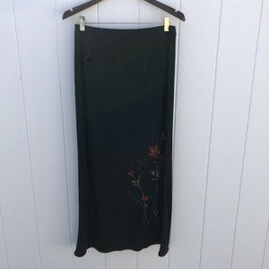 Emma James Liz Claiborne Maxi Skirt Black Floral M